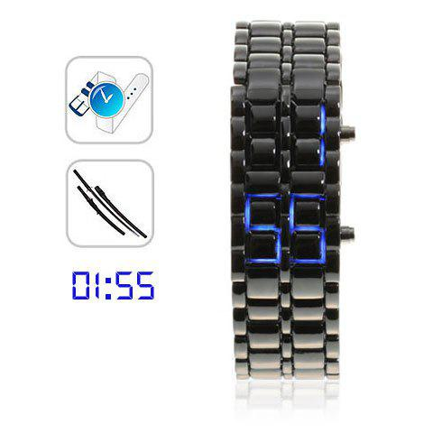 Samurai - Japanese Inspired Blue LED Watch for Woman (Black)