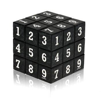 3 x 3 x 3 Small Arabic Numbers Brain Teaser Magic IQ Cube Puzzle Toy - BLACK BLACK