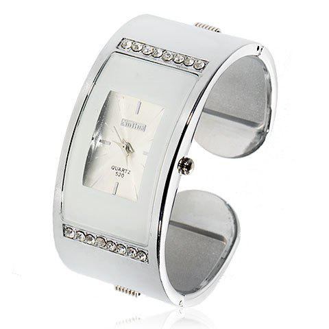 Exquisite Rectangle Case Stainless Steel Wristband Watch 520 (White) -