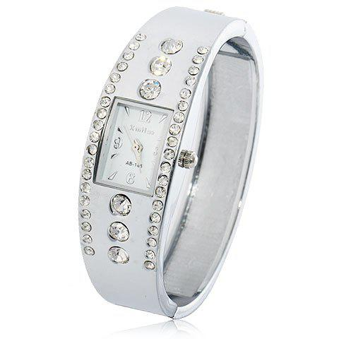 Fashion Rectangle Case Stainless Steel with Diamond Wristband Watch AB-185 (White) -