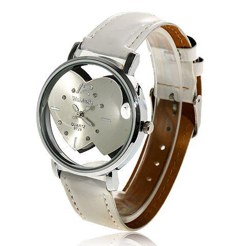 Exquisite Quartz Wrist Watch with Heart to Heart Dial - 9729 (White)