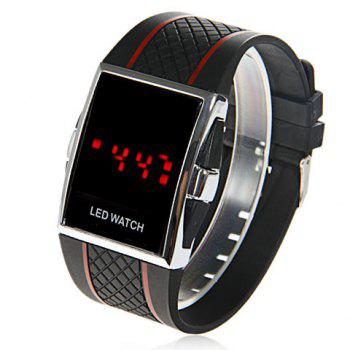 Chic Unisex Silicone Watchband LED Watch with Red LED Light Appearing (Black&Red)