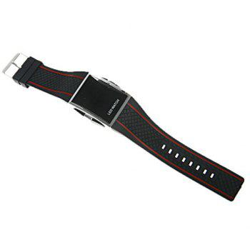 Chic Unisex Silicone Watchband LED Watch with Red LED Light Appearing (Black&Red) -