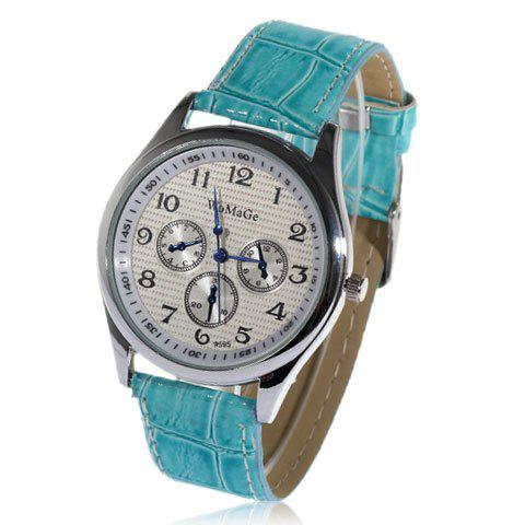 Exquisite WoMaGe Leather Wrist Watch with 12 Arbaic Numeral Hour Marks for Female (Blue)