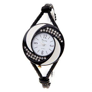 Fashionable Daudy White Dial Bracelet Wrist Watch with Rhinestone Decoration and 4 Arabic Numerals Hour Marks 275 (Black) -