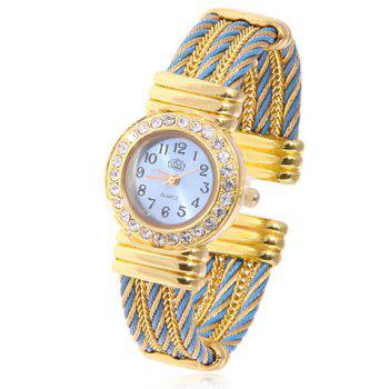 Fashionable Round Shaped Feminine Quartz Bracelet Wrist Watch with Rhinestone Decoration and Steel Rope Wristband (Golden & Blue)
