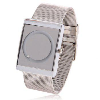 Fashionable Steel Watchband Quartz Wrist Watch with Circle Pattern & White Dial for Men 58823 -