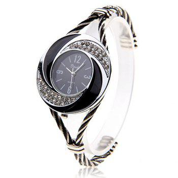 Fashionable Daudy Black Dial Bracelet Wrist Watch with Rhinestone Decoration and 4 Arabic Numerals Hour Marks 275 (Black & White) - SILVER SILVER