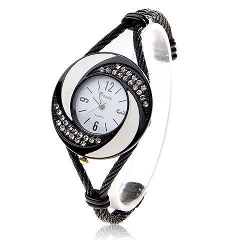 Fashionable Daudy White Dial Bracelet Wrist Watch with Rhinestone Decoration and 4 Arabic Numerals Hour Marks 275 (Black)
