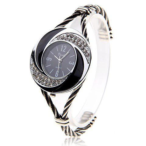 Fashionable Daudy Black Dial Bracelet Wrist Watch with Rhinestone Decoration and 4 Arabic Numerals Hour Marks 275 (Black & White) - SILVER
