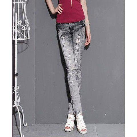 Fashionable and Slim Rhinestone Embellished Ripped Jeans - AS THE PICTURE S