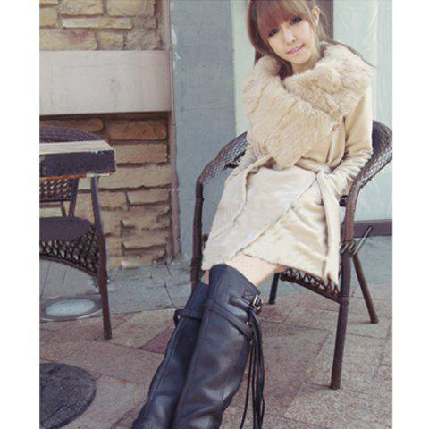Warmly and Slim Lapel Light Camel Long Sleeves Lamb Wool+Pu Coat For Women - CAMEL M