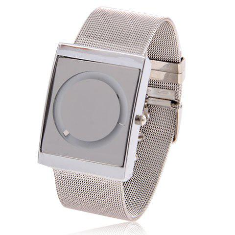 Fashionable Steel Watchband Quartz Wrist Watch with Circle Pattern & White Dial for Men 58823