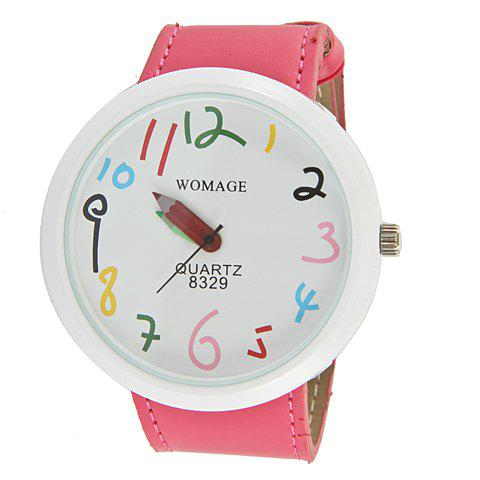 Exquisite WoMaGe Leather Wrist Watch with Numeral Hour Marks & White Dial for Female 8329 (Hot Pink) -
