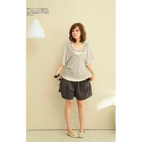 Korean Lady Style Chiffon Tops Within Vest T-shirt - GREY