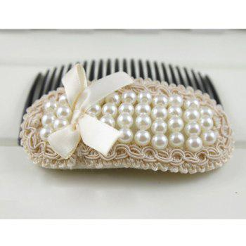 Charming Faux Pearl Bowknot Lace Hair Comb - PINK PINK