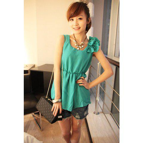 Graceful Ornamental Embellished Shoulder Round Neckline Elastic Waist Sleeveless Dress