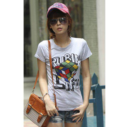 New Arrival Korean Cotton Corlorful Magic Cube Printed Round T-shirt - GREY FREE SIZE