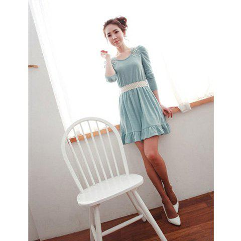 Sweety and Refreshing Round Neckline Frills Pearl Embellished Sky Blue Long Sleeves Lycra+Cotton Dress For Women