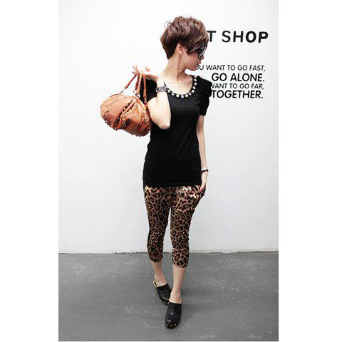 Spring New Arrival Bead Embellished Round Neckline Puff Sleeve T-Shirt