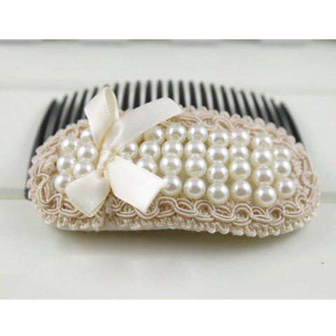 Charming Faux Pearl Bowknot Lace Hair Comb - PINK