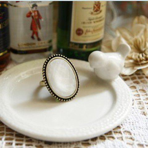 Western Retro Style Simple Oval Shape Finger Ring - COLOR ASSORTED