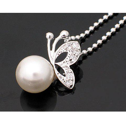 Butterfly Faux Pearl Pendant Necklace -