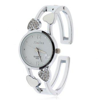 Stylish Xinhua 2 Arabic Numerals Hour Marks Bracelet Wrist Watch with Heart Decoration for Female 632 (White Dial)