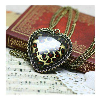 Retro and Unique Style Loving Heart Shape and Leopard Pattern Decorated Necklace