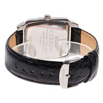 Curren 8097 Strips Hour Marks Leather Wrist Watch with Calendar Function for Men -  BLACK