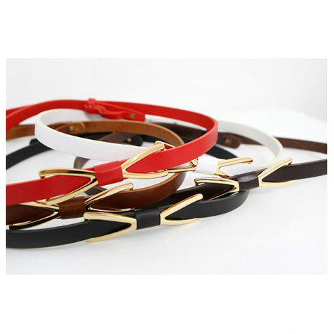 Corean Simple Style Bowknot Buckle Decorated Slender Waist Belt For Female