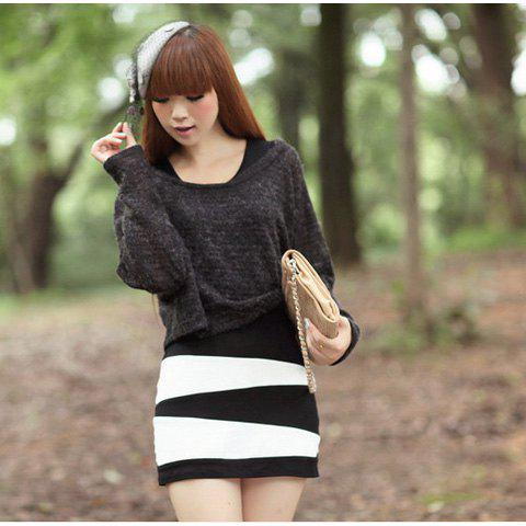 Warming Round Neckline Irregularity Stripes Long Sleeves Two Pieces Dress For Women - BLACK