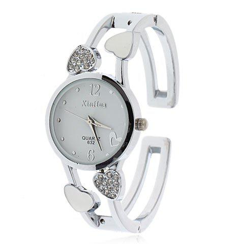Stylish Xinhua 2 Arabic Numerals Hour Marks Bracelet Wrist Watch with Heart Decoration for Female 632 (White Dial) chic bolun b636 treble clef theme dial leather wristband wrist watch with dots hour marks white