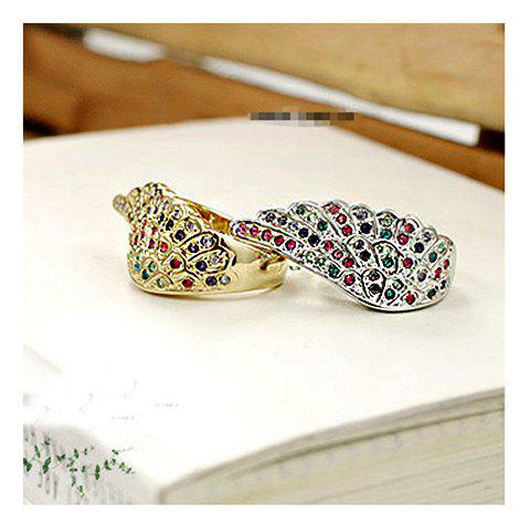 New Arrival Colorful Rhinestone Embellish Wing Pattern Design Rings For Female
