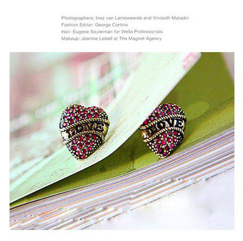 Love Topic Vintage Style Heart Shape Pink Rhinestone Earring