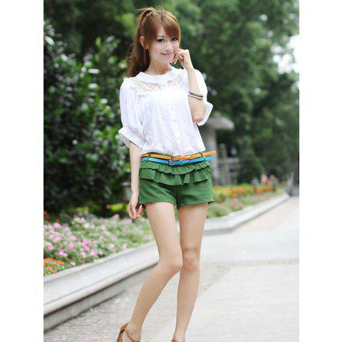 Delicate and Mix-Matched Lotus Leaf Hem Design Skirt For Female - YELLOW S