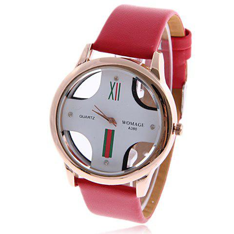 Exquisite WoMaGe Hollow Dial 4 Dots Hour Marks Leather Wrist Watch for Men A380 - RED