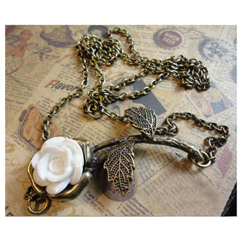 Retro Style White Rose Long Pattern Necklace - COLOR ASSORTED