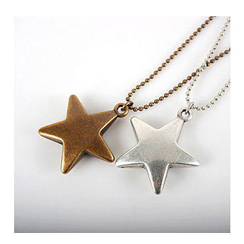 Concise and Cute Bronze Star Pendant Necklace