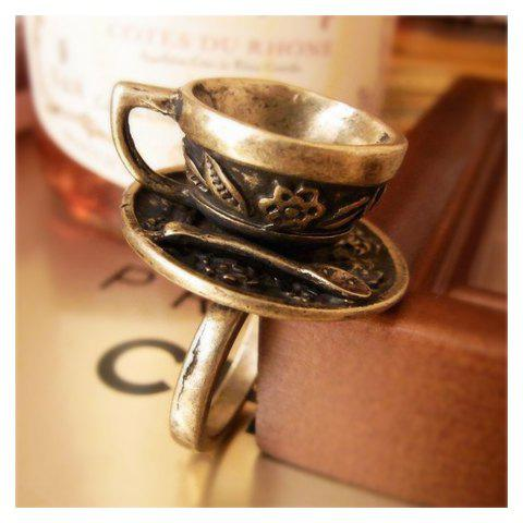 Retro and Unique Style Coffee Cup Decorated Finger Ring