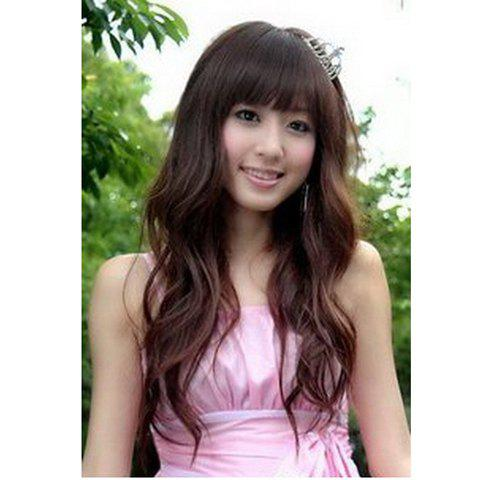 Cute Princess Neat Bang Fluffy Long Curly Wig--Common Hair - DARK BROWN