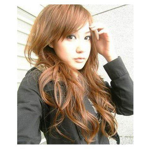 Stylish Inclined Bang Fluffy Long Curly Wig--Common Hair - LIGHT BROWN