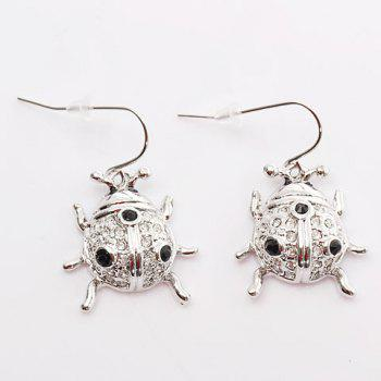 TX-1766E-V01R Fashionable Beetle Shaped and Australian Crystal Inlaid Pierced Platinum Earring Ear Ornament for Female (Silvery)