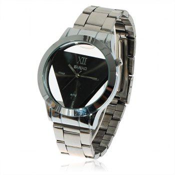Fashionable Bariho Triangle Shaped Dial Stainless Steel Wrist Watch with Black Dial for Men A112 (Silver) - BLACK DIAL BLACK DIAL