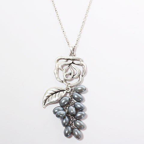 TX-1765N Fashionable Flower with Pearl Pendant Silver Necklace Neck Chain Neck Ornament for Female -