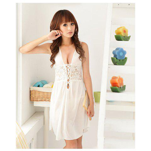 Sexy Deep Neckline Two-Piece Sexy Lingeries For Women White Dress + T-Back -