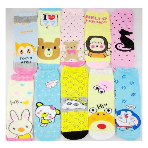 Korean Comfortable and Lovely Style Cartoon Pattern Embellished Socks -