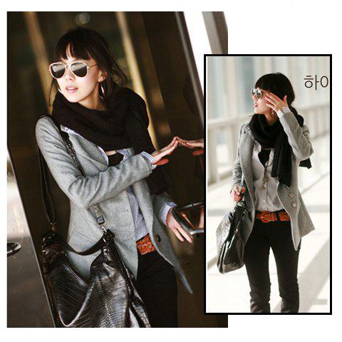 Korea Fashion Exquisite Workmanship Fit Tailored Medium Style Woollen Coat - GRAY L