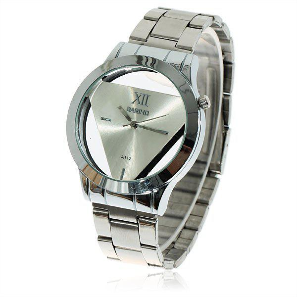 Fashionable Bariho Triangle Shaped Dial Stainless Steel Wrist Watch with Black Dial for Men A112 (Silver) - SILVER