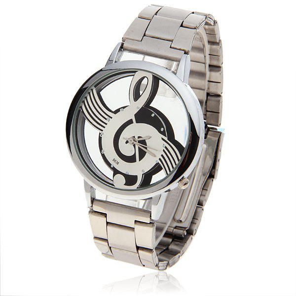 Stylish Bolun Hollow Dial Note Patterned Dots Hour Marks Stainless Steel Wrist Watch for Men B636 (White Dial)